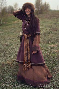 Set of woolen dress/tunic and linen dress viking costume
