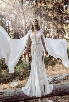 galia lahav gala 4 2018 bridal cap sleeves deep v neck full embellishment elegant sexy side slit sheath wedding dress sweep train (906) mv -- Gala by Galia Lahav 2018 Wedding Dresses