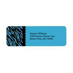 Trendy Turquoise Zebra Stripes Address Avery Label