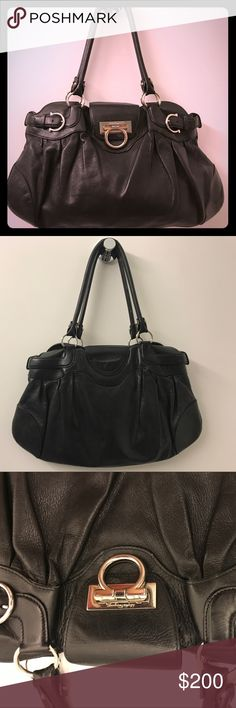 """Salvatore Ferragamo Black Leather Marisa Handbag This is a very soft to the touch, classic Ferragamo Marissa handbag. It has been a loved bag, the top of the handles are """"broken in"""" (see pic), but still a beautiful! 1 interior zip pocket and 2 interior pockets to easily find cell phone, wallet, keys, ect. With original dust bag. Salvatore Ferragamo Bags Shoulder Bags"""