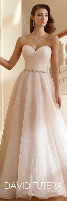 David Tutera for Mon Cheri Fall  2017 Collection - Style No. 217212 Alma - sequin tulle full A-line wedding dress with directionally ruched bodice