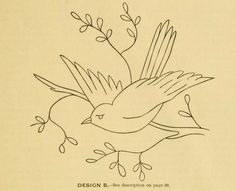 """Put a bird on it - embroidery pattern from  """"The Handbook of Domestic Art and Decorations"""", 1909. This is a public domain ebook you can download freely in pdf, kindle or epub formats: https://archive.org/stream/handbook00thom"""