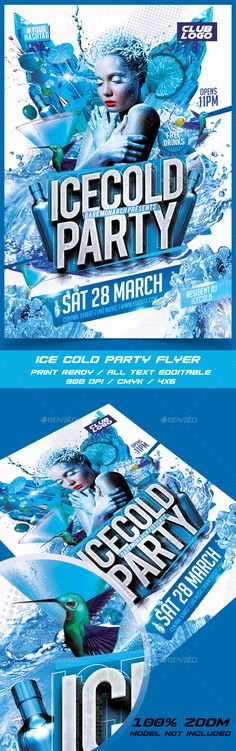 Ice Cold Party Flyer Template PSD #design Download: http://graphicriver.net/item/ice-cold-party/14367130?ref=ksioks