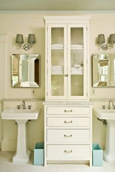 Double vanities w storage galore, another way to have two sinks and storage in between, too bitsy?