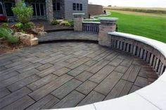 Backyard stamped concrete patio ideas is the best patio design wood stamped concrete using wood hardiplanks Stamped Concrete Designs, Wood Stamped Concrete, Concrete Patio Designs, Backyard Patio Designs, Pergola Designs, Patio Ideas, Concrete Slab, Backyard Ideas, Colored Concrete Patio