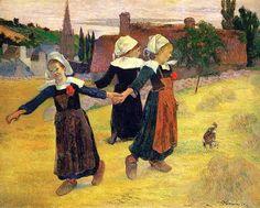 Round small breton, Paul Gaugin 춤은 소박한 일상이 되어버렸지만 꼭 잡은 손들 사이에서 단단한 유대감을 느낄 수 있다.