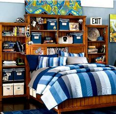 Bedroom, Adorable Teen Room Boy Bedroom Design Headboard Feat Wooden Bookshelves With Rectangular Blue Area Rug And Light Blue Colored Wall: Simply Headboard Design for Your Lovely Boys