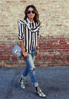 sincerely jules blogger ruffle ripped jeans snake shoes striped shirt spring outfits stripes ankle boots