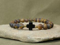 Mens Bracelet  Mens Jewelry  Cross Bracelet  by StoneWearDesigns