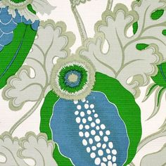 Carnival Outdoor Fabric from Christopher Farr. An outdoor fabric featuring a bold floral design printed in green, grey and blue on a white ground. Bold Prints, Large Prints, Large Floor Cushions, Green Farm, Curtain Designs, Fabric Wallpaper, Outdoor Fabric, Room Inspiration, Fabric Design