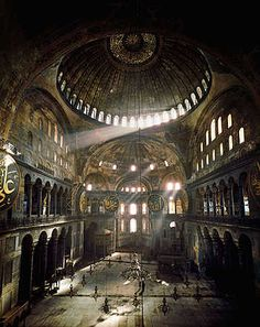 Erich Lessing, Hagia Sophia, Istanbul, 1978 / 2012 © www.lumas.com/ #Lumas - Like a painter, Lessing's attention was drawn to historical sites and structures such as the Roman Forum or the Hagia Sophia, and he used light, colour, and texture to convey the history of these remarkable places.