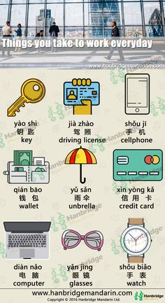 Hanbridge Mandarin Chinese vocabulary list-things you take to work everyday. Let's practice together.
