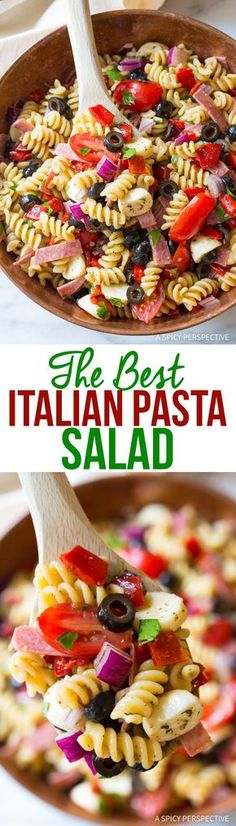 Hands-Down The Best Italian Pasta Salad Recipe (Healthy Pasta Recipes Salad) Pasta Dishes, Food Dishes, Dishes Recipes, Dinner Dishes, Recipes Dinner, Cheese Recipes, Food Food, Side Dishes, Pasta Salat