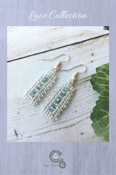 Handmade seed bead earrings in lace design with blue crystals.   Pretty and dainty earrings to accessorize your evening wear. Clink link to see these and more colors available. www.hugsbeads.etsy.com