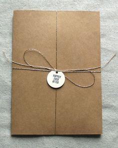 kraft paper invitation- use postcard rsvp and larger mailing envelope