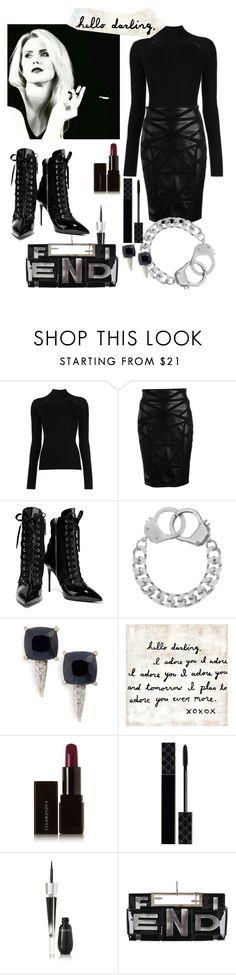 """hello darling womens fashion"" by junemedialab on Polyvore featuring Misha Nonoo, Versace, Giuseppe Zanotti, Eklexic, John Hardy, Sugarboo Designs, Illamasqua, Gucci, Lancôme and Fendi"