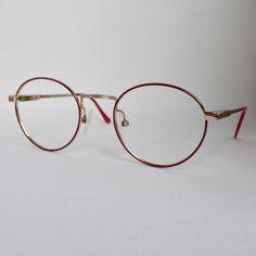 2bf81d99ec085 Vintage Burgundy Circular Metal Elastic Glass Frame