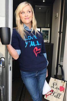 Reese Witherspoon wearing Draper James Love Y'All Sweatshirt