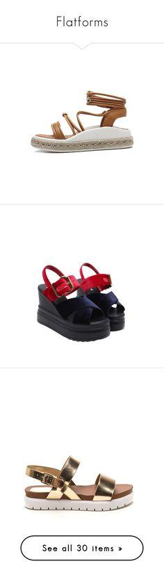 """Flatforms"" by kitkat12287 ❤ liked on Polyvore featuring shoes, sandals, tie espadrilles, light brown shoes, espadrille sandals, tie shoes, fake leather shoes, red platform sandals, buckle strap sandals and velvet shoes"