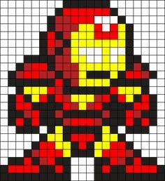 Iron Man Perler Bead Pattern / Bead Sprite