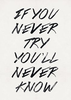 If you never try you'll never know- This thought has gotten me into so many things...good and bad.