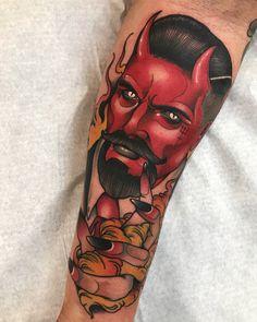 Cali Tattoo, Neo Tattoo, Tatto Ink, Diablo Tattoo, Gentleman Tattoo, Devil Tattoo, Tatuagem Old School, Cool Tattoos For Guys, Tattoo Flash Art