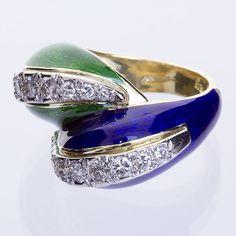 "TIFFANY & Co. Schlumberger  Diamond Blue & Green Enamel ""Paillonné"" Ring, 18k Yellow Gold Twist Ring, France Circa 1980"