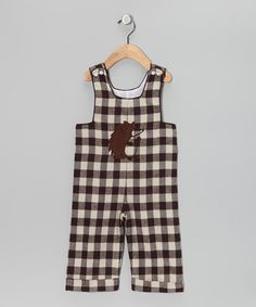 Take a look at this Brown & Cream Hedgehog Gingham Overalls - Infant & Toddler by Beehave on #zulily today!