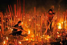 Worshippers burn incense to pray for good fortune on the first day of Lunar New Year at Dafo temple in Chongqing, China on February 10, 2013 (Stringer/Reuters) Amazing.