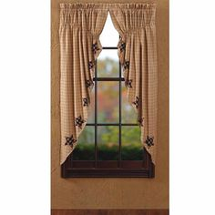 Bingham Star Prairie Curtain Applique Lined Set 2 63x36x18 - Black & Tan Prairie Curtain   . From the Bingham Star Collection. Check it out Today.