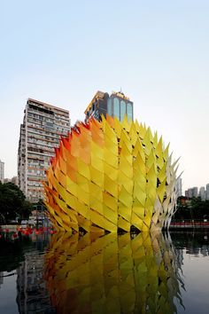 Golden Moon installation, only up for 6 days to commemorate the Mid-Autumn Festival | Architects: LEAD | Location: Victoria Park, Hong Kong | Architects: Kristof Crolla, Adam Fingrut | Photographs: Kevin Ng, Grandy Lui, Pano Kalogeropoulos, Courtesy of LEAD, Courtesy of Hong Kong Tourism Board
