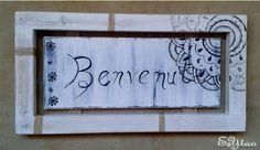 Cornice Benvenuti country shabby –mandala. Fato a mano. €15+ss