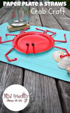 A Paper Plate Crab Craft for Kids to Make - Perfect for Ocean, Under the Sea, Finding Dory and summer parties! http://KidFriendlyThingsToDo.com