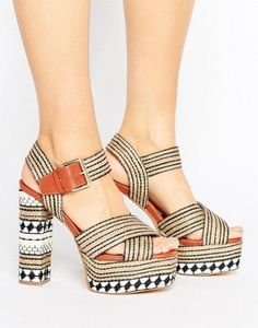 084cafd330317 Glamorous Crafty Platform Heeled Sandals Elegante Schuhe Damen