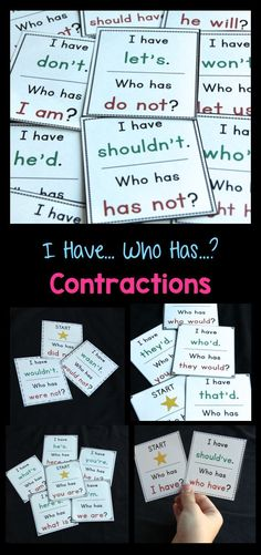 Practice contractions with I Have... Who Has...? games based on contraction endings