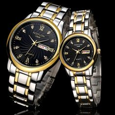 11.60$  Watch now - http://alivn2.shopchina.info/go.php?t=32367232488 - Top Brand Luxury Lovers' Couple Watches Men Date Day Waterproof Watch Women Gold Stainless Steel Quartz Wristwatch Montre Homme 11.60$ #magazineonline