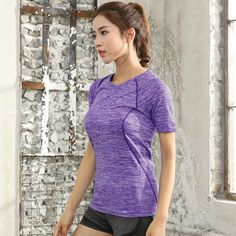 Short Sleeves Stripped Sport Woman's Top - 4 Colors Sports Women, Fitness, Short Sleeves, V Neck, Stuff To Buy, Free Shipping, Woman, Colors, Trekking