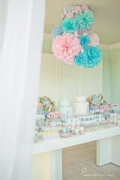 twin baby shower - i want some of these poofy things in green & pink