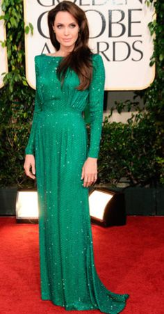 Versace emerald green evening gown worn by Angelina Jolie at the Golden Globe Awards, 2011