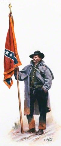 United States Civil War Confederate Army, Virginia Infantry, color bearer, December of 1862 ~ BFD Confederate States Of America, America Civil War, Military Art, Military History, American War, American History, Southern Heritage, Southern Pride, Civil War Art