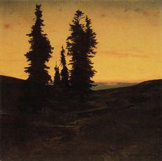 Arnold Böcklin: Fir trees at sunset