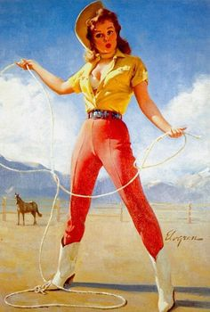 """I want this in """"farm girl"""" version - Art by Gil Elvgren"""
