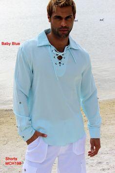 Men's Cotton-Gauze Drawstring Long Sleeve Shirt in Colors Linen Shirt Dress, Dress Shirts, Tunic Shirt, White Outfits, Stylish Men, Shorts, Designer, Long Sleeve Shirts, Menswear