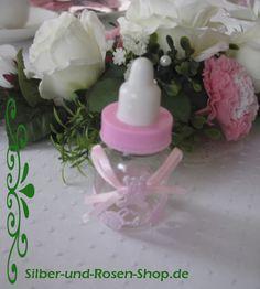 Deko-Babyflasche rosa für Taufdeko bestellen