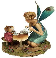 Just A Wee Drop ~ A tiny mouse with beautiful fairy.  Sculpted by Willy Petersen | Wee Forest Folk