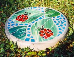 """Ladybug Friends - Handmade Stained Glass and Concrete Stepping Stone - 14"""" Round"""