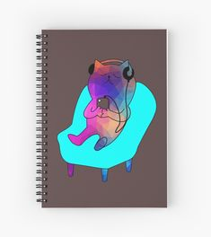 'Cute, Cool, and Trippy Multicolored Cat listening to music!' Spiral Notebook by damanarora Notebooks, Journals, Your Spirit Animal, Notebook Design, Canvas Prints, Art Prints, Listening To Music, Cool Cats, Trippy