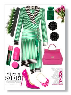 """Go green, go pink."" by babett-beattie on Polyvore featuring Mode, Etro, Jimmy Choo, Dolce&Gabbana, Vintage, Giorgio Armani und Lipstick Queen"