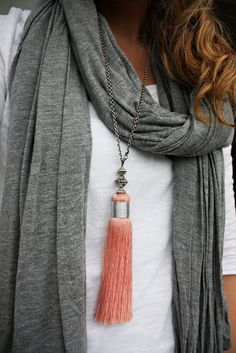 turn a curtain tassel into a necklace! (or a keychain…)