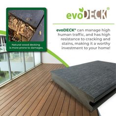 Need a decking that lasts? Invest in evoDECK and benefit from its highly-appreciated features! It is capable of withstanding high human traffic as well as resisting cracks and stains. Outdoor Decking, Outdoor Decor, Human Traffic, Balcony Design, Natural Wood, Teak, Singapore, Benefit, Investing